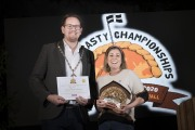 Photograph by Emily Whitfield-WicksWolrd Pasty Championships. Eden Project. The Winners. Chloe with Vanessa's award.