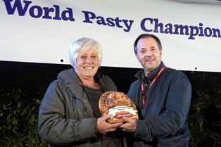 Photograph by Emily Whitfield-WicksEden Pasty Champ 2014. The winners. Pasty Ambassador Award presented by David Rowe.